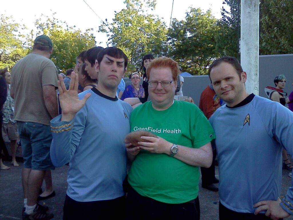 MH posing with Spock and McCoy at Trek in the Park